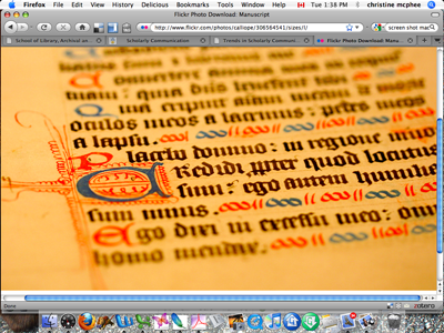 Image: Screen shot of MacIntosh Desktop with an image of a medieval manuscript in the active window.